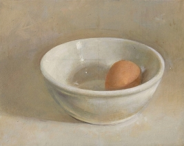 Christopher Gallego, Egg and White Bowl, 2006, Oil on wood panel, 6 x 7 in., Jeffrey LEder Gallery: Beautiful Object, Upsetting Still Life, Long Island City NY