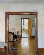 Christopher Gallego Contemporary Artist,American 1959- Painting-Interior with Three Rooms-New Britain Museum of American Art