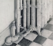 Christopher Gallego, American, b. 1959, Kitchen Radiator, 2006, oil on board, 6 x 13 in.. Sold