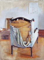 Contemporary Artist Christopher Gallego,America,1959-Painting- Studio Chair, 1998-Oil on Canvas-60 x 44 in.